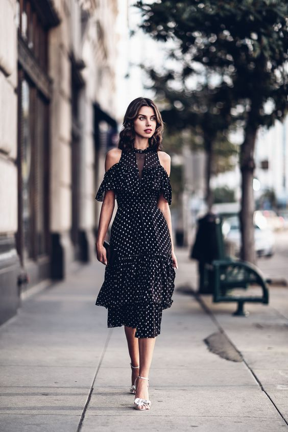 black chiffon dress polka dots