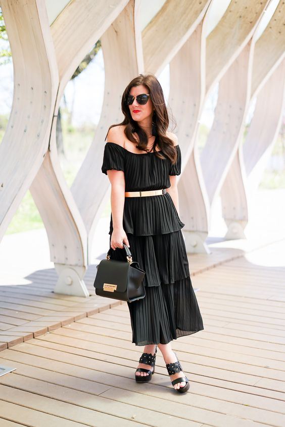 black chiffon dress ruffles