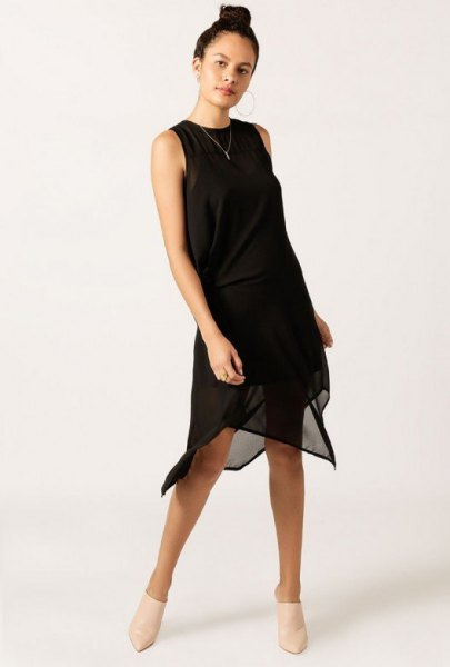 Knee-length sleeveless cocktail party dress made of black chiffon