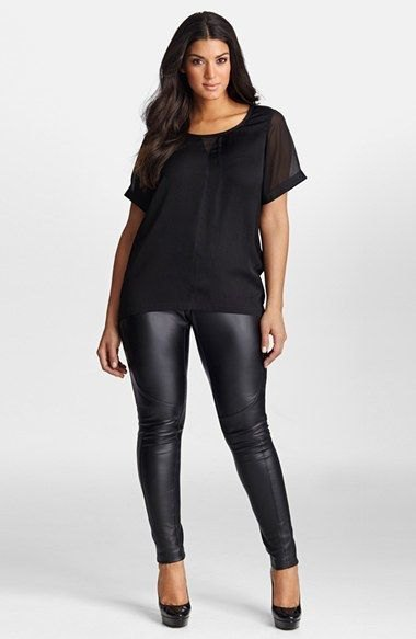 black chiffon t-shirt with scoop neckline and leather gaiters