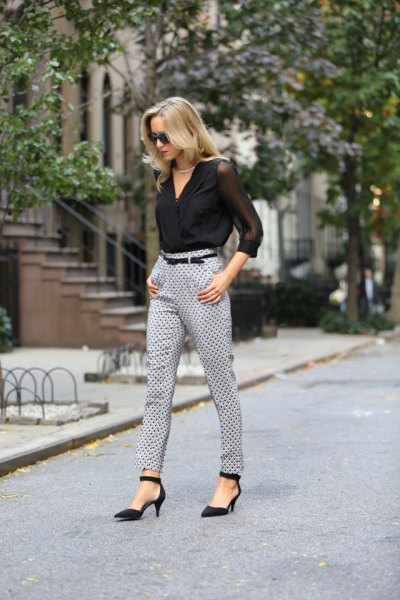 black wrap blouse made of chiffon with gray polka dot trousers