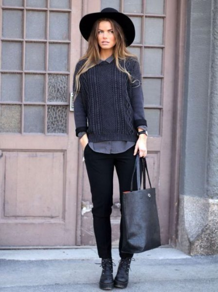 black chinos with a gray knitted sweater