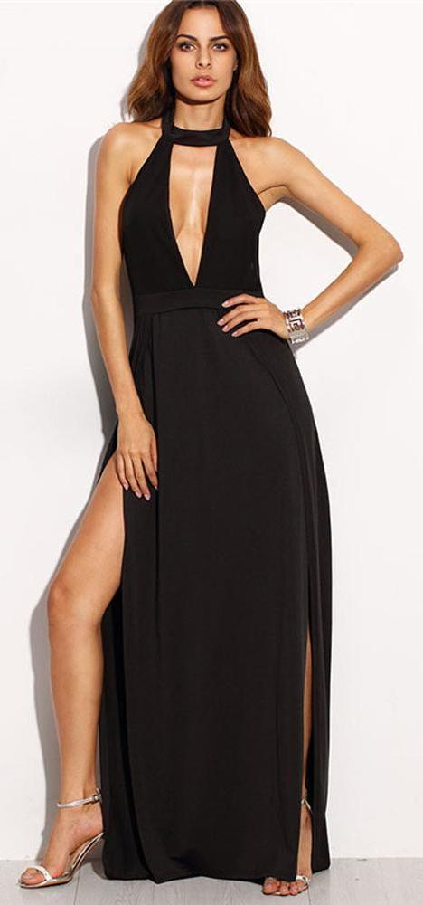 Clavina Choker Halter Neck Black Chiffon Maxi Dress – Glamanti Beau