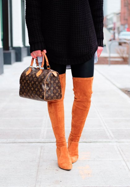 black, chunky sweater dress with thigh-high suede boots
