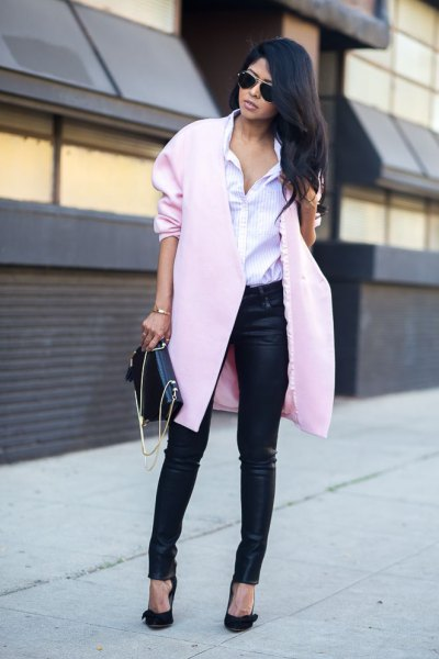black coated jeans with a light gray wool coat