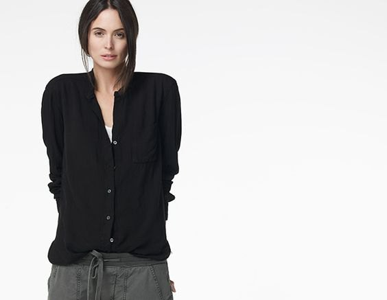 black collarless boyfriend shirt gray elastic waist trousers