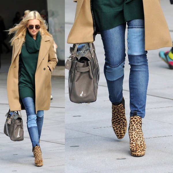 black tunic sweater with cowl neckline, camel blazer and boots with animal print