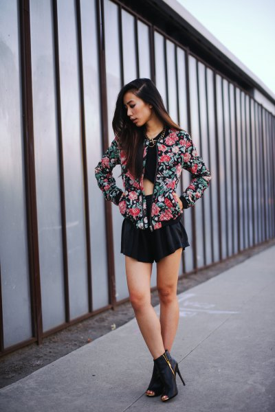 flowing mini shorts with black crop top