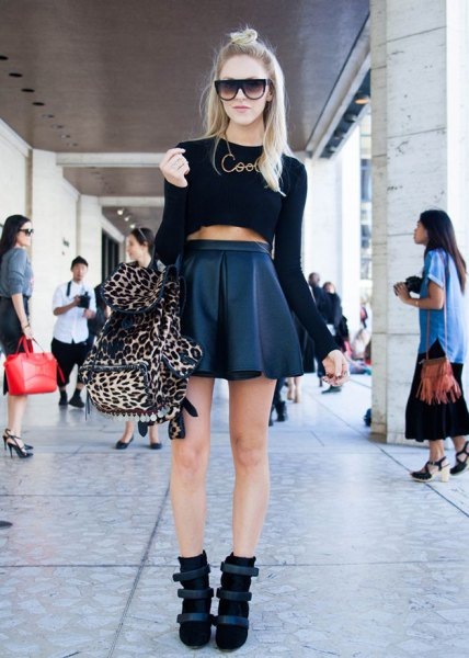 black crop top high waisted leather minirater skirt