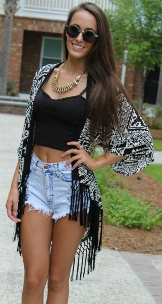 black crop top with tribal printed fringed cape