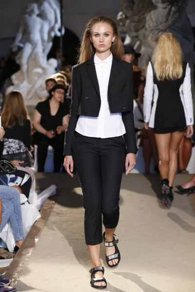 black, cropped blazer with white shirt with buttons