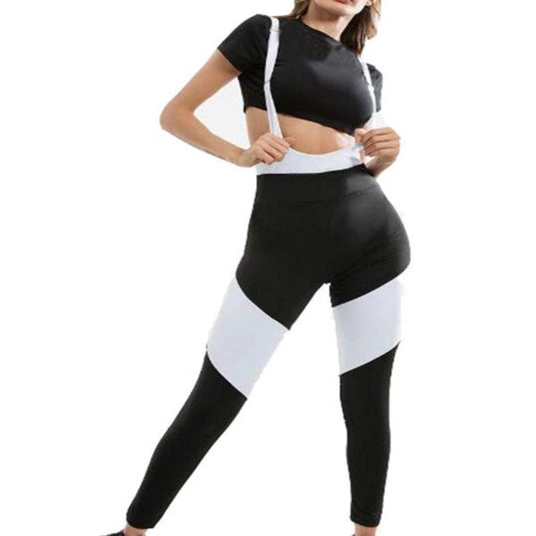 black cut, fitted T-shirt with white striped suspender cycling shorts