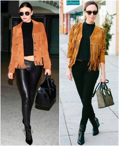 black short knitted sweater leather pants