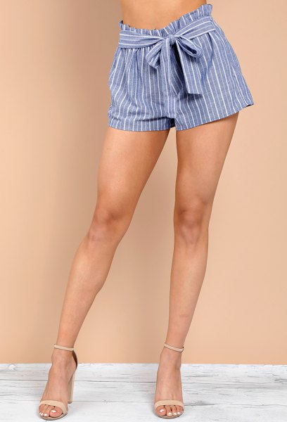 black short t-shirt with blue and white striped mini tie shorts