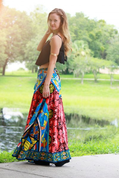 black short tank top with blue printed gypsy skirt