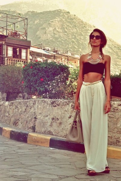 black short tube top with white trousers with wide legs