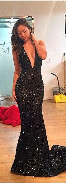 black mermaid dress with deep V-neck and sequins