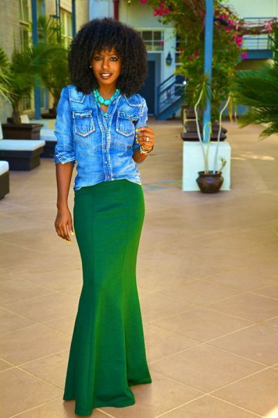 black denim shirt with buttons and green mermaid skirt