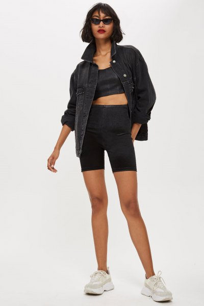black denim jacket with crop top and matching cycling shorts