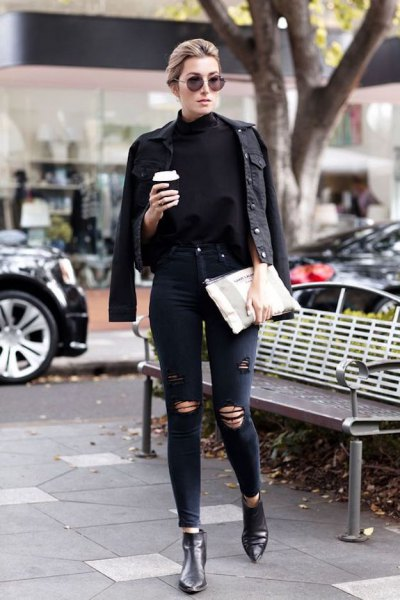 black denim jacket with leather boots chelsea boots