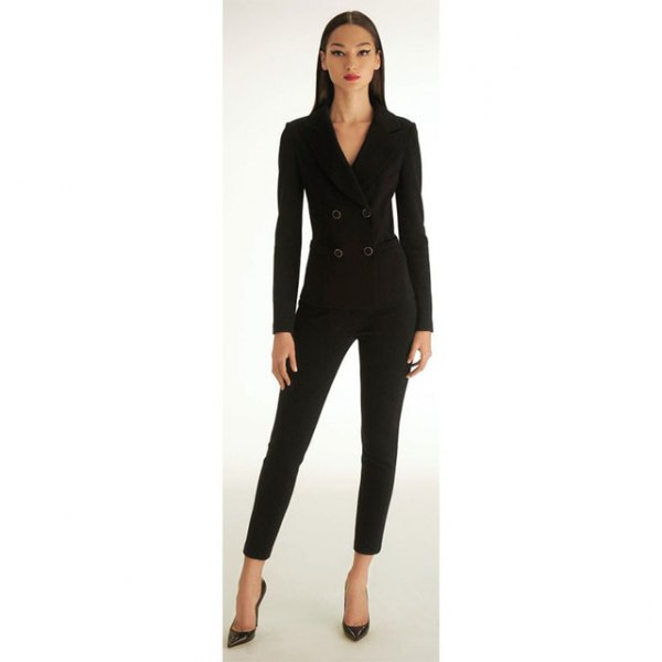 black double-breasted tailored jacket with shortened, narrow-cut trousers
