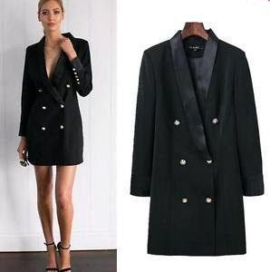black double-breasted jacket dress with ankle straps and open toe heels