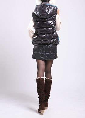 black down vest with hood and matching mini skirt