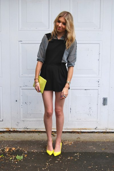 black dress gray shirt yellow heels