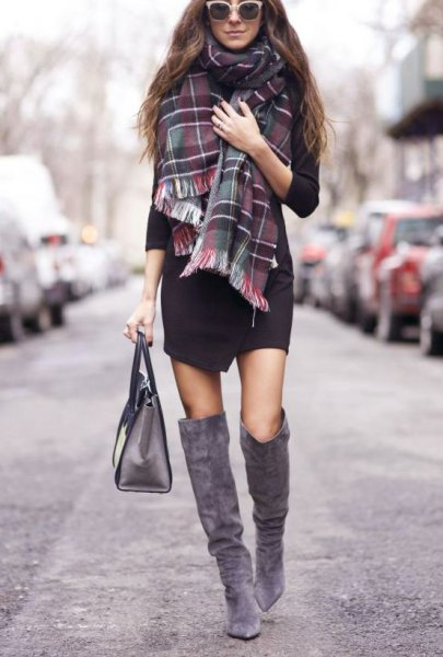 black dress plaid scarf gray suede knee high boots