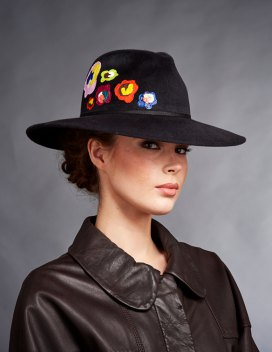 black embroidered bush hat with round leather shirt
