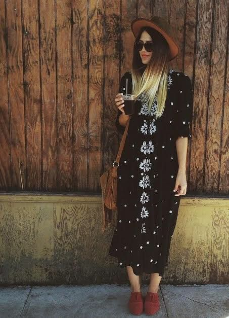 Free People Dresses | Embroidered Fable Midi Black Dress .