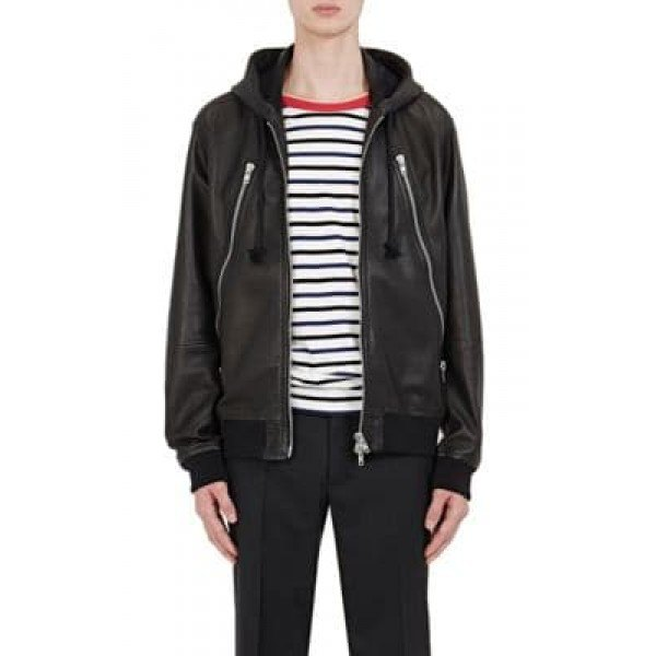 black leatherette hooded casual leather jacket with striped t-shirt