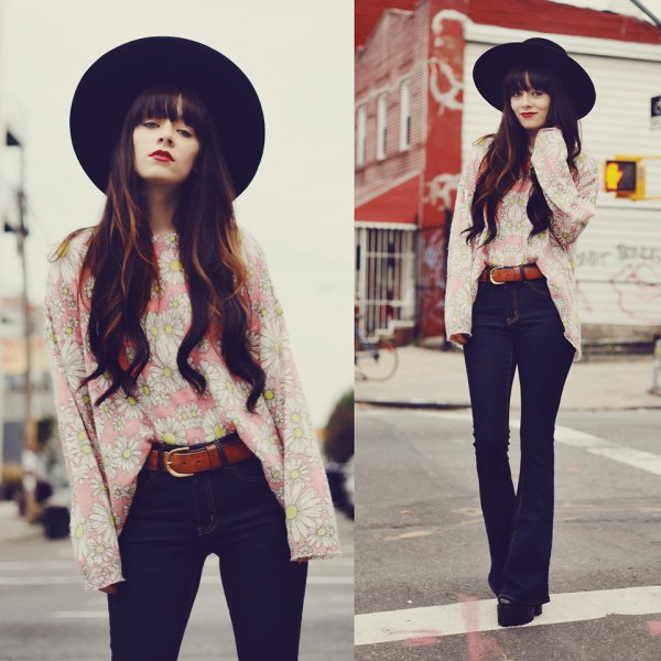 black felt hat with pale pink blouse and high-waisted trousers