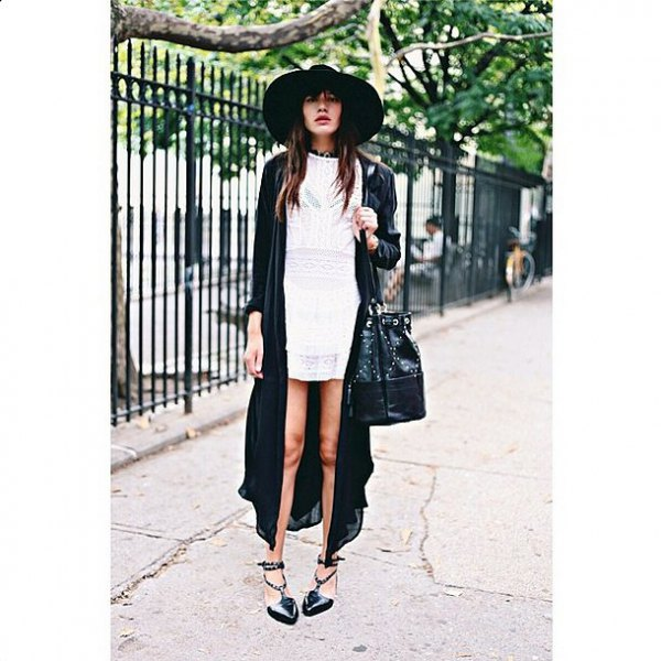 black felt hat with white shift dress and maxi cardigan