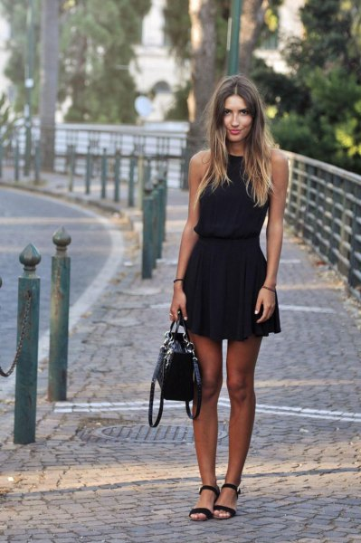 sleeveless mini dress with black fit and flare, open toe heels and leather handbag
