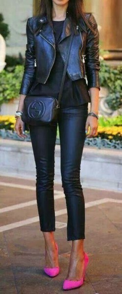 black fitted and short moto jacket with shortened leather pants