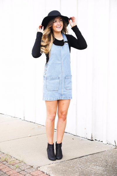 black waisted knitted sweater light blue dress floppy hat