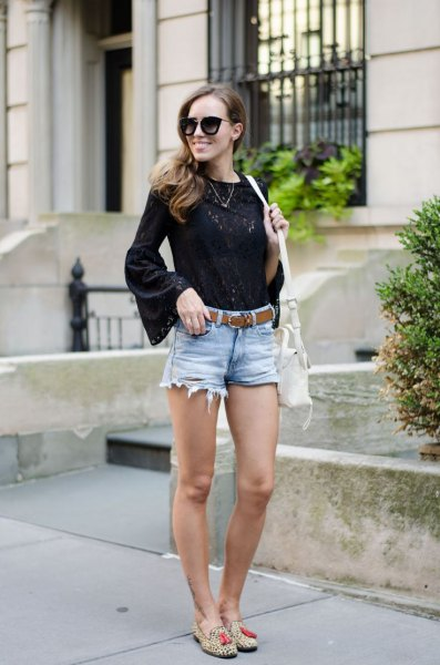 black blouse with flared sleeves