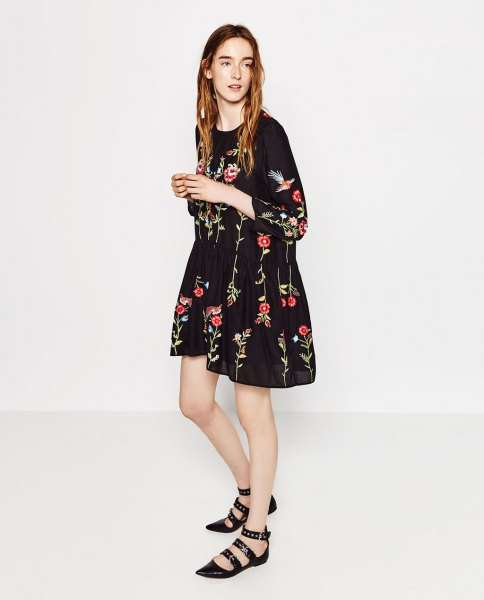 black flared mini embroidered dress strappy flats