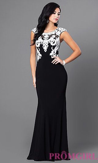 Black Floor Length Dress with White Lace Accents at PromGirl.com .