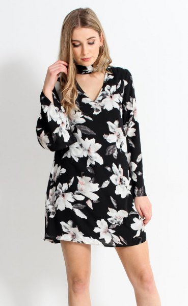 black flowered choker with bell sleeves