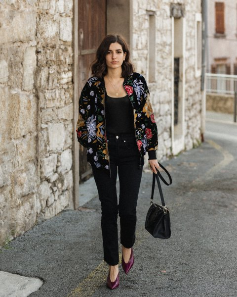 black velvet bomber jacket embroidered with flowers with a scoop neck tank top