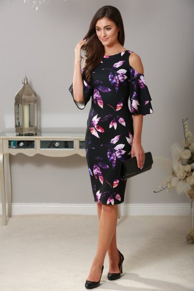 black sheath dress printed with flowers with cold shoulder