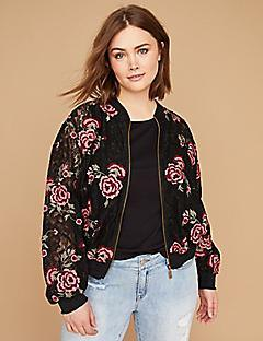 black sports jacket with floral pattern and light blue boyfriend jeans