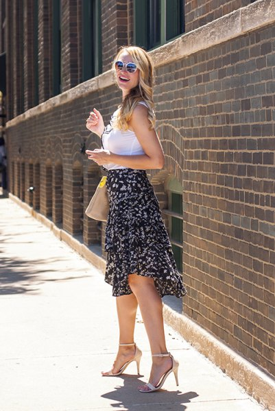 black floral midi skirt with ruffles