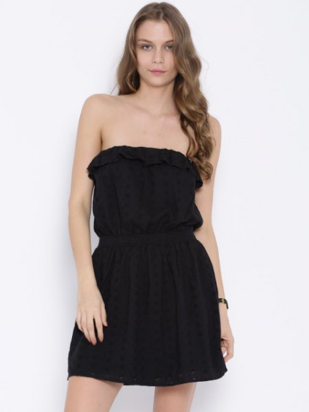 black pleated mini dress with gathered waist