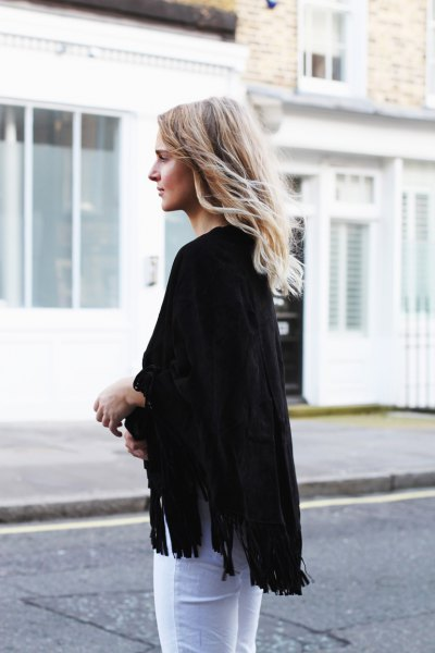 black skinny poncho jeans with fringes