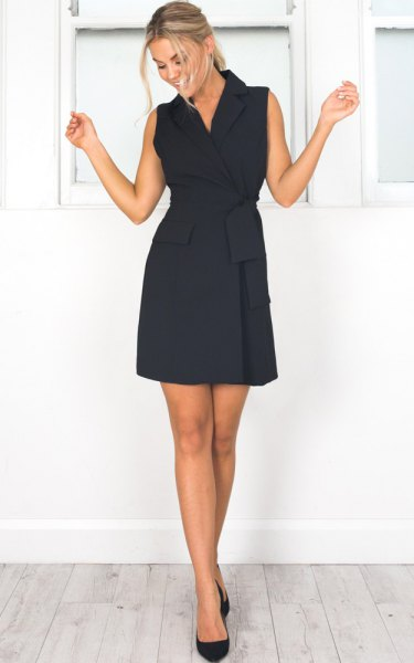 black mini dress with ruched waist and ballerinas