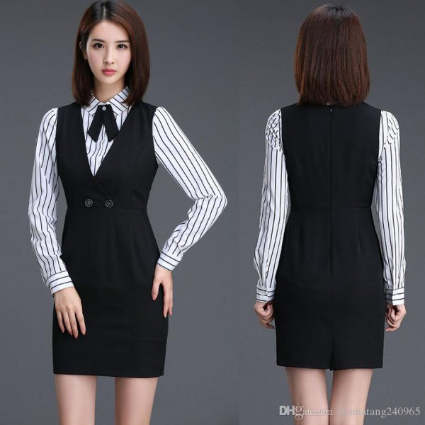black mini remnant dress with gathered waist and striped shirt with buttons