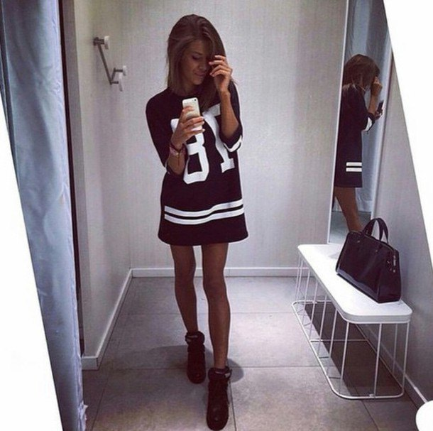 black graphic t-shirt dress with ankle boots